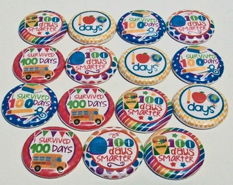 Colorful 100 Days Smarter I Survived 100 Days 1 Inch Flat Back Embellishments Buttons Flair