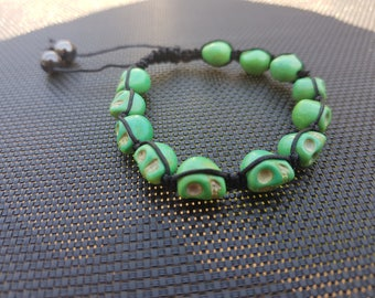 Green Skull Shamballa bracelet