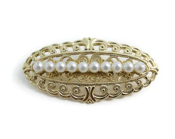 Vintage, Faux Pearl Brooch, Filigree, Gold Tone, STY89