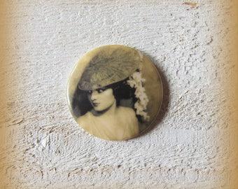 Flat porcelain cabochon 27mm, woman portrait in sepia tones, all craft, handmade