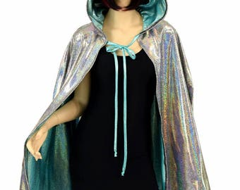 """Unisex 35"""" Long Reversible Silver Holographic & Seafoam Sparkly Jewel Hooded Cape Cloak - 152400"""