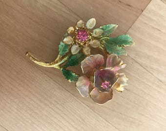 Made in Austria Air Brushed Brooch Floral Bouquet Gold Tone