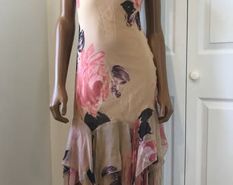 Betsey Johnson Silk 90s Grunge Dress Blush Nude Size 2