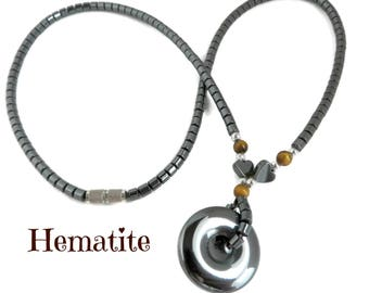 Hematite Necklace - Vintage Hematite Pendant Necklace, Gift for Her, Gift Box, FREE SHIPPING