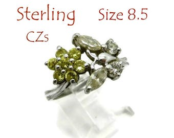 Sterling Silver Butterfly Ring - Vintage CZ Cocktail Ring, Size 8.5, Gift for Her, Gift Box, FREE SHIPPING