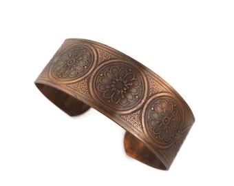 Vintage Solid Copper Cuff, 1970s Flower Design Bracelet
