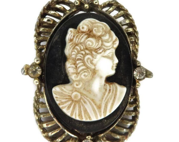Vintage Cameo Brooch, Black & Cream Cameo, Rhinestone Studded Gold Tone Pin, Antique Style Pin, FREE SHIPPING