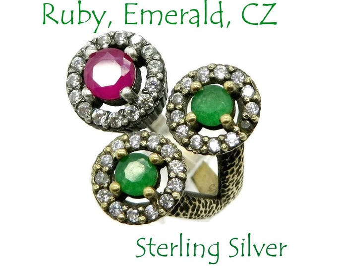 Sterling Silver - Ruby & Emerald Bypass Ring, Vintage Two Tone Sterling Silver CZ Wrap Ring, Size 6, FREE SHIPPING