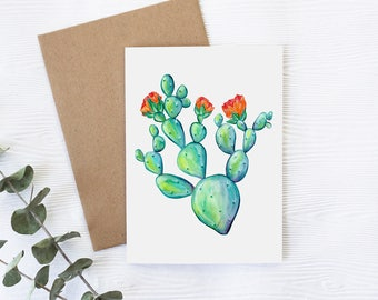 Card with cute cactus, greeting card with cactus, illustration by Joannie Houle