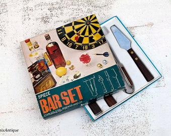 Vintage Japanese Boxed Stainless Steel Rosewood Handles Bar Set Retro Wooden and Metal Barware Homeware Kitchen Tools Set