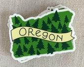 Illustré Oregon arbres vinyle autocollant / main lettrage autocollant imperméable à l'eau / Cool ordinateur portable autocollant moderne / Sticker / autocollant de voyage