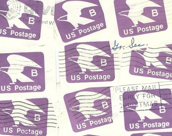 16 PURPLE EAGLE Embossed Stamp Imprints from a prepaid postage envelope  - Vintage Used Postage Stamp US American Salvaged Cancelled B72