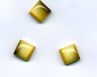 4 cabochons cat's eye square 8 x 8 mm - beige