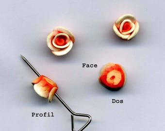 2 flowers drilled stick or sew color: orange-diameter: 8 mm - 5 mm height