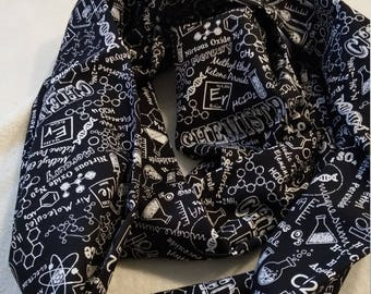 Black and White Chemistry cotton infinity scarf