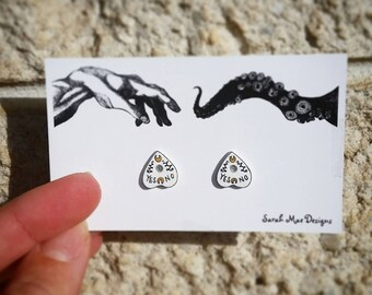 Cute Creepy Ouija Board Planchette Halloween Handmade Stud Earrings Shrink Plastic