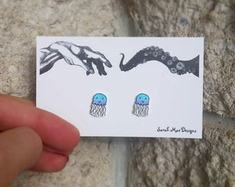 Blue Purple Pink Cute Kawaii Jellyfish Handmade Stud Earrings Shrink Plastic