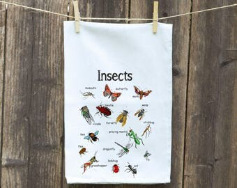 Insect Towel- Ants Kitchen Flour Sack Towel-Tea Towel with Flies, Insects, Dishcloth-Hand-Kitchen,,Bugs Custom Towel, Whimsical Towel
