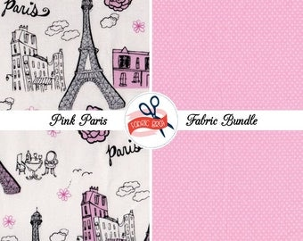 PINK PARIS GLITTER Fabric Bundle Fabric by the Yard Fat Quarter Bundle Fabrics Eiffel Tower & Dot Fabric 100% Cotton Quilting Apparel Fabric