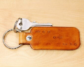 Personalized Morse Code Key Fob, Morse Code Leather Keychain, Personalised Morse Code Keyring, Father Gift, Morse Code Gift For Dad, MC189