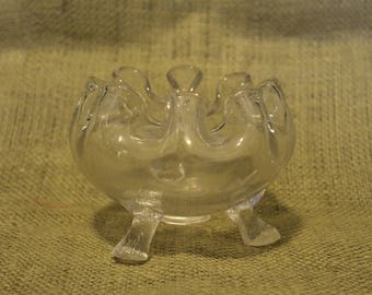 Clear Glass Footed Bowl with Ruffle Top