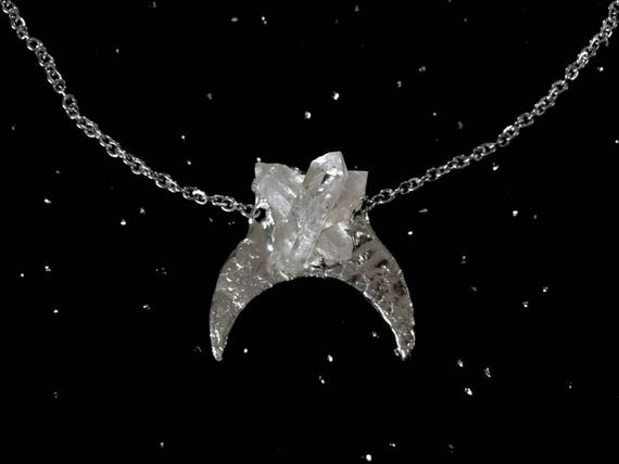 Quartz Pendant Crystal Crescent Moon Necklace Sterling Silver Smokey Phantom Clear Quartz with Inclusions Adjustable Stainless Steel Chain