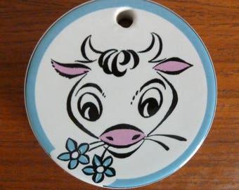 Vintage Mid Century Holkham Pottery MOO Ceramic Milk Saver