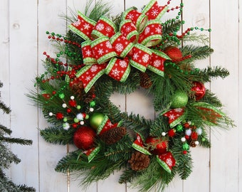 AVAIL JULY 2018 Christmas Wreath, Elf wreath, Holiday wreath, Christmas Decor, decoration, door wreath, winter wreath, red and green,