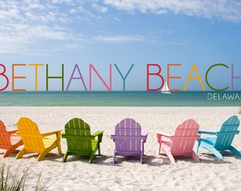 Bethany Beach, Delaware - Colorful Beach Chairs - Lantern Press Photography (Art Print - Multiple Sizes Available)