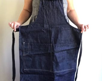 Vintage Heavy Denim Apron Full Work Apon