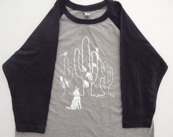 KIDS 3/4 Raglan Sleeve Saguaro Desert Dwellers T-shirt, Size XS-XL