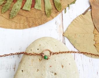 Dainty green jade anklet - Circle anklet Dainty anklet Boho beach jewelry  Delicate anklet Karma anklet Simple anklet Minimalist anklet
