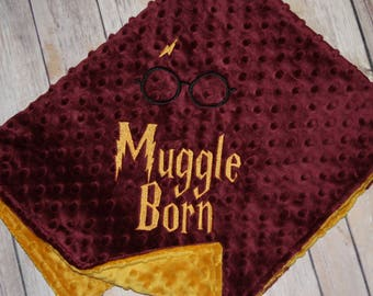 Ready to Ship - Harry Potter theme- Muggle Born & Harry Potter Glasses- Security Blanket - 21.5x26.5