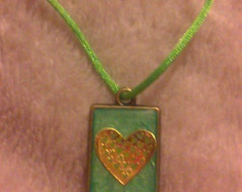 Gold and green 29mm x 18mm heart pendant
