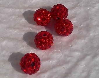 5 red 10mm shamballa rhinestone beads