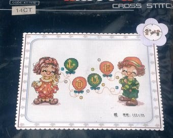 Little boy and girl clown skit counted cross stitch Kit