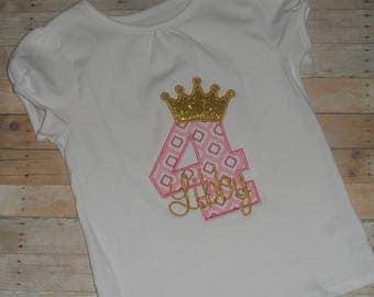 Princess glitter gold crown birthday shirt Baby Toddler Girls custom applique 12 18 24 months 2t 3t 4t 5t
