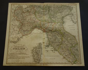 italy old map of italy large original 1858 antique map northern italy rome torino
