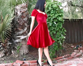 Couture BLOOD Red VELVET Dress Cherry Red Pin Up Swing Dress by Hardley Dangerous 50s Rockabilly Bridesmaid, Semi Formal