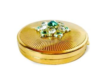 Helena Rubenstien Vintage Compact Mirror gold jewel Antique Pocket Mirror Compact