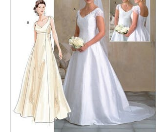 2788, Vogue, Wedding Dress Pattern, Train, Bridal Gown, Formal Wedding, Formal Gown, Vogue Bridal Original , Formal Evening Gown,