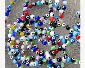 "Evil Eye Beads, Round Beads, 14.5"" strand of Beads, 6mm Beads, lampwork Beads, Beads for jewelry making, beads wholesale"