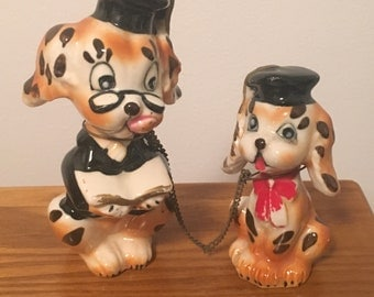 Vintage Dog Figurines Chained Dog with Puppy