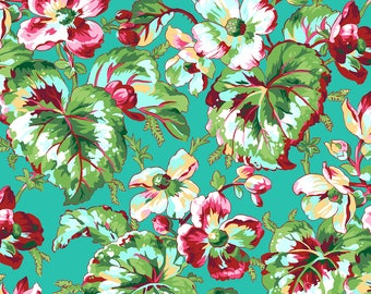 "Philip Jacobs ""Snow Leopard Designs"" English Garden Begonia PWSL054 Aqua Free Spirit Fabric"