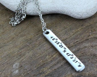 Coordinates Necklace - Custom Silver Necklace - Gps - Latitude Longitude Necklace- Personalized - Stainless Steel Chain- Both sides Custom