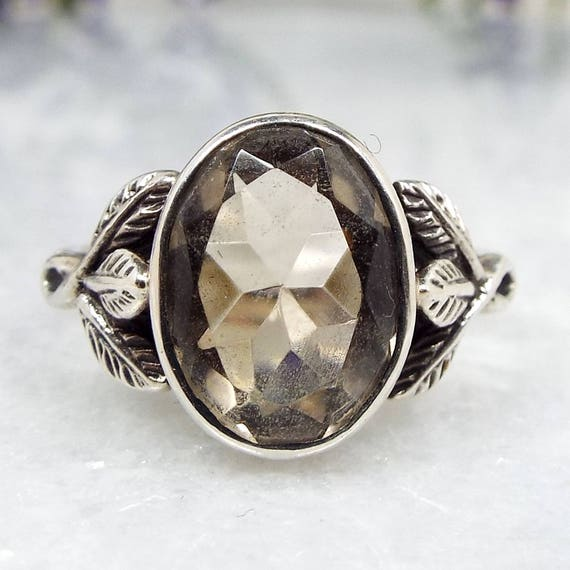 Antique Arts and Crafts Sterling Silver Bernard Instone Smoky Quartz Ring Size O