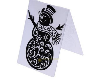 Snowman Embossing Folder/Christmas/Winter/Card Making/Scrapbooking/Craft/Works with Sizzix, Cuttlebug machines/Supplies