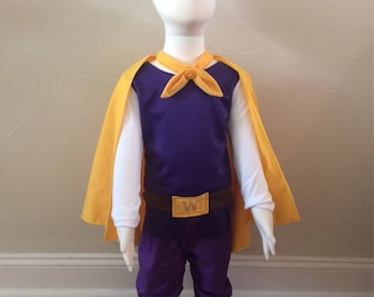 Prince Wednesday Inspired Costume Set includes, Crown, Cape, Shirt with Belt Detail, Pants, and Boot Covers