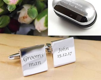 Mens Personalised Grooms Man Wedding Day Custom Engraved Square Cufflinks - Personalised Engraved Gift Box Available