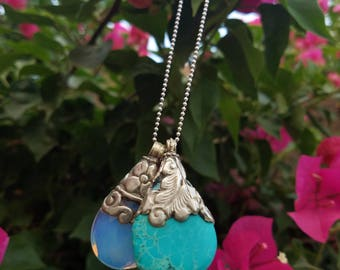 The Teia Necklace...  Vibrant Turquoise Stone and Moonstone pendants.